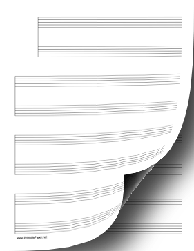 4 Systems of 2 Staves Music Paper Paper