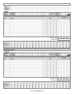 Basketball Score Sheet Paper