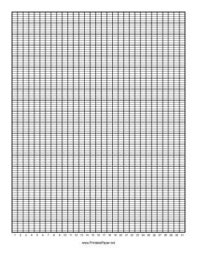 Calendar - 1 Month by Days - 100 Divisions with Index Lines Paper