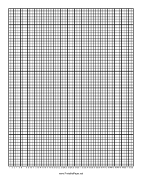 Calendar - 1 Year by Weeks - 100 Divisions with Index Lines Paper