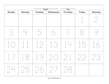 Handwriting Calendar - 28 Day - Friday Paper