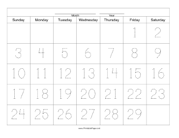 Handwriting Calendar - 29 Day - Friday Paper