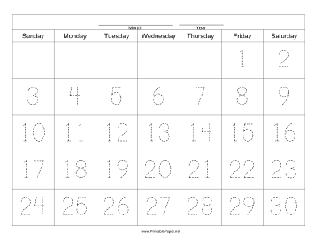 Handwriting Calendar - 30 Day - Friday Paper