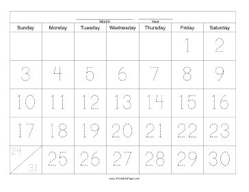 Handwriting Calendar - 31 Day - Friday Paper