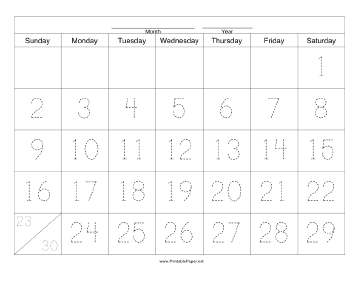 Handwriting Calendar - 30 Day - Saturday Paper