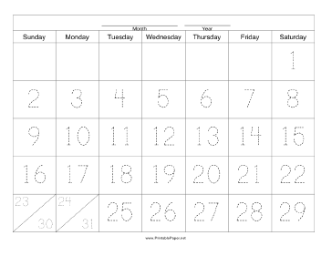 Handwriting Calendar - 31 Day - Saturday Paper