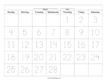 Handwriting Calendar - 28 Day - Thursday Paper