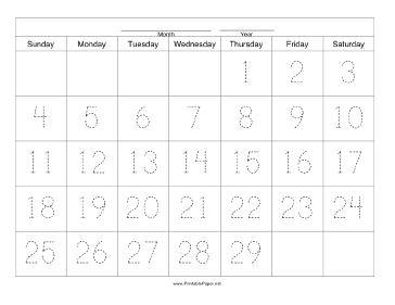 Handwriting Calendar - 29 Day - Thursday Paper