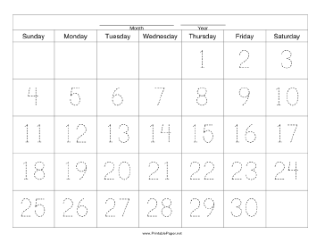Handwriting Calendar - 30 Day - Thursday Paper