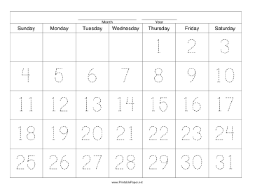 Handwriting Calendar - 31 Day - Thursday Paper