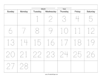 Handwriting Calendar - 28 Day - Tuesday Paper