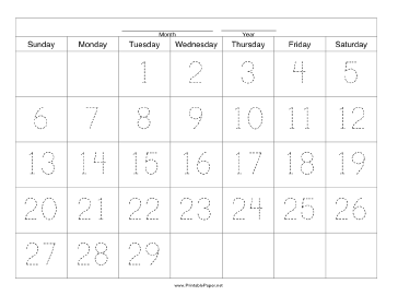 Handwriting Calendar - 29 Day - Tuesday Paper
