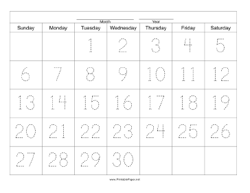 Handwriting Calendar - 30 Day - Tuesday Paper