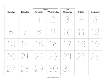 Handwriting Calendar - 31 Day - Tuesday Paper