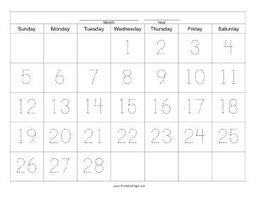 Handwriting Calendar - 28 Day - Wednesday Paper