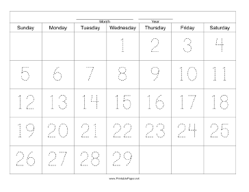 Handwriting Calendar - 29 Day - Wednesday Paper