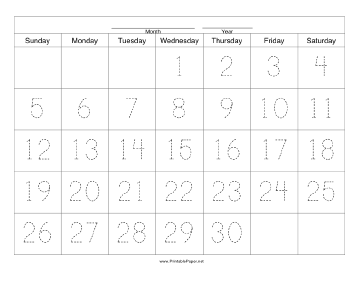 Handwriting Calendar - 30 Day - Wednesday Paper