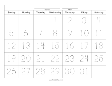 Handwriting Calendar - 31 Day - Wednesday Paper