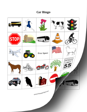 Car Bingo Cards Paper