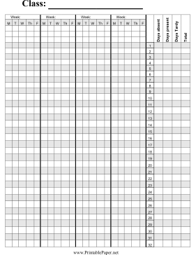 graphic about Attendance Printable titled Printable Cl Attendance Paper