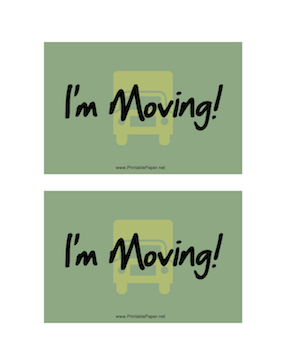 I'm Moving Postcard Paper