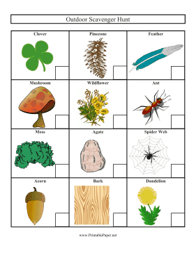 picture about Outdoor Scavenger Hunt Printable referred to as Printable Outside Scavenger Hunt Ranking Sheet