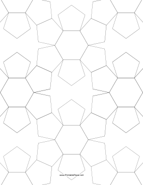Pentagons and Hexagons Tiled Paper