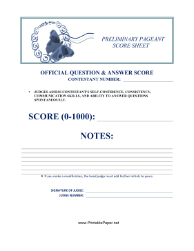 Preliminary Pageant Official Answers Score Paper