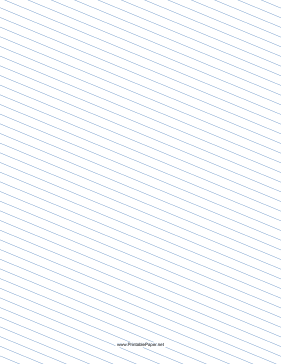 Slant Ruled Paper — Medium Ruled Left-Handed, Low Angle — blue lines Paper