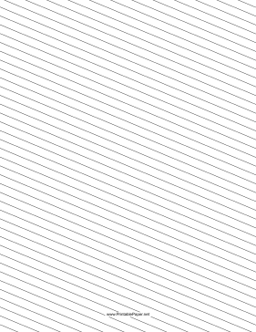Slant Ruled Paper — Medium Ruled Left-Handed, Low Angle Paper