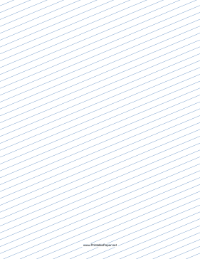 Slant Ruled Paper — Medium Ruled Right-Handed, Low Angle — blue lines Paper