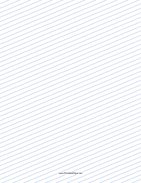 Slant Ruled Paper — Narrow Ruled Right-Handed, Low Angle — blue lines Paper