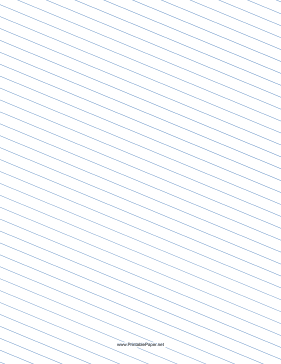Slant Ruled Paper — Wide Ruled Left-Handed, Low Angle — blue lines Paper