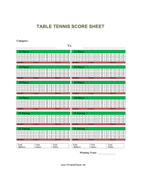 Table Tennis Score Sheet Paper
