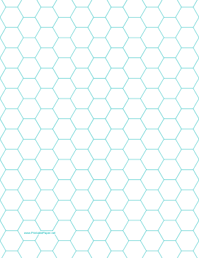 Hexagon Graph Paper with 1/2-inch spacing on letter-sized paper Paper