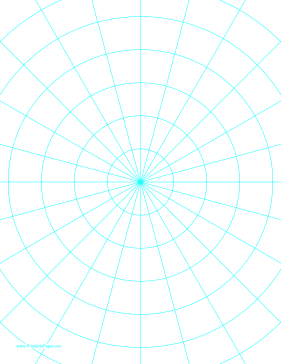 Polar Graph Paper with 15 degree angles and 1-inch radials on letter-sized paper Paper