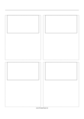 Storyboard with 2x2 grid of 16:9 (widescreen) screens on A4 paper Paper