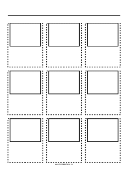 Storyboard with 3x3 grid of 4:3 (full screen) screens on A4 paper Paper
