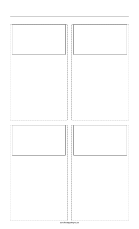 Storyboard with 2x2 grid of 16:9 (widescreen) screens on legal paper Paper
