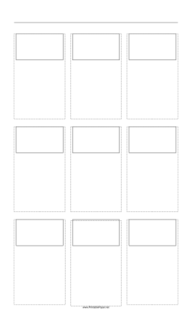 Storyboard with 3x3 grid of 16:9 (widescreen) screens on legal paper Paper