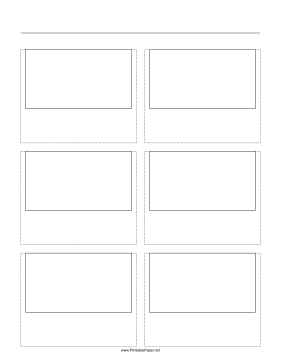 Storyboard with 2x3 grid of 16:9 (widescreen) screens on letter paper Paper