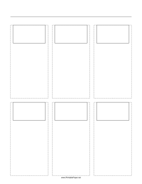 Storyboard with 3x2 grid of 16:9 (widescreen) screens on letter paper Paper