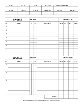 Printable Tennis Score Sheet