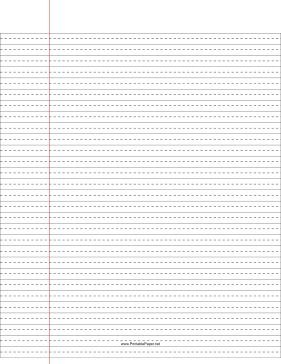Lined Paper — wide ruled with dashed center guide line — black lines Paper
