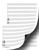 2 Systems of 4 Staves and Piano Music Paper paper