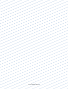 Slant Ruled Paper — Wide Ruled Right Handed, Low Angle — blue lines paper